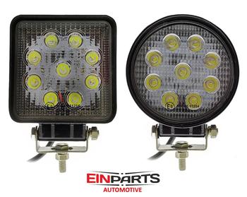 27W LED arbetsbelysning Einparts® valbar  30° spot & flood 60° 9-32V Einparts