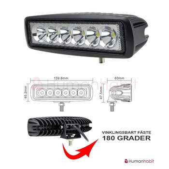 18W LED miniatyr valbar 20° spot & 90° flood 9-32V ECE R10 L0097