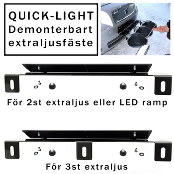 Quick-Light avtagbart extraljusfäste för 3 st extraljus