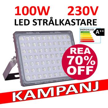 100W LED strålkastare frostad frontglas kallvit 12000 lumen 6000 Kelvin Energieffektivitet klass A++