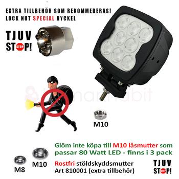 Rostfri stöldskyddsmutter - Låsbult M8 eller M10