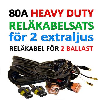 Reläkabelsats 80A Heavy Duty för 2st extraljus eller 2st xenon ballast (drivdon)