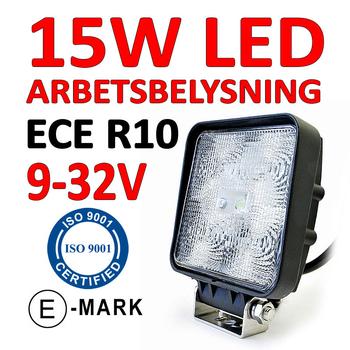 15W LED arbetsbelysning ECE R10 flood 60° 9-32V
