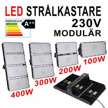 Modulär 230V LED strålkastare med frostad frontglas valbar 100, 200, 300 samt 400W .
