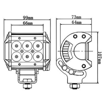 2 pack 18W CREE LED extraljus 60° 12-24V