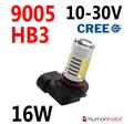 16W 9005 (HB3) dimljus CREE LED 10-30V