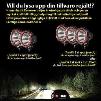 55W Xenon Extraljus Ø205mm 9-32V Svart