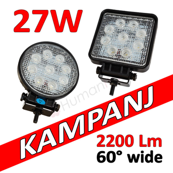27W LED arbetsbelysning ECE R10  flood 60° 9-32V L0077 L0076