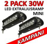 2 pack 30 Watt miniatyr LED extraljusramp SPOT 9-32 Volt