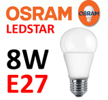 8 Watt Osram Ledstar E27 LED lampa 2700 Kelvin 220V 1055 lumen motsvarar 75W
