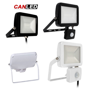 230 Volt LED strålkastare valbar 10, 20, 30, 50W bländfritt prismaglas med och utan rörelsesensor